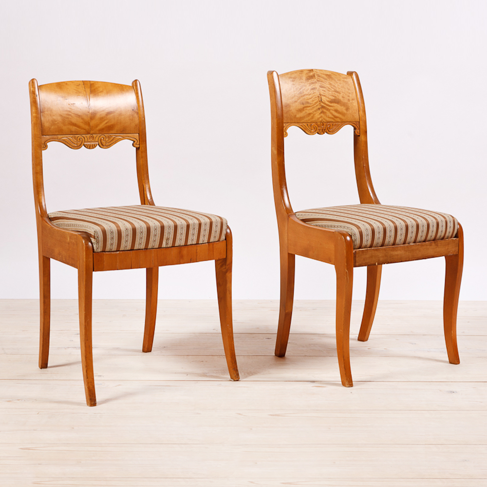 Pair Of Biedermeier Style Birch Side Chairs From Finland