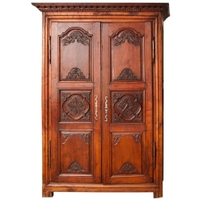 18th Century Antique French Armoire in Walnut with Carved Phoenix