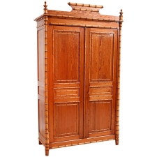 French Antique Faux-Bamboo Armoire, c. 1890
