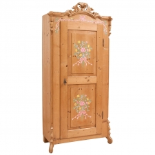 Armoire in Pine with later painting of flowers & festoons, Germany, c. 1850