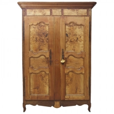 19th Century French Armoire in Walnut & Cherry with Burl Olive Ash Panels