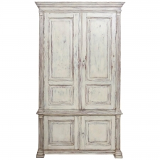 Painted Swedish Armoire with Raised Panels and Fluted Pilasters, circa 1850