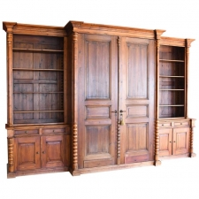 Massive Wall Unit Built from Antique Elements and Re-Purposed Pine Boards