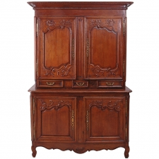 18th Century Louis XV Buffet a Deux Corps in Carved Oak from Normandy