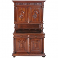 French Renaissance Style Buffet a Deux Corps in Carved Walnut, circa 1880