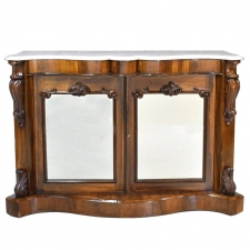 19th Century English Console Cabinet in Rosewood w/ Marble Top & Mirrored Panels