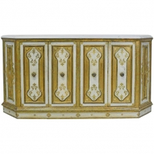 Early 20th Century Venetian Style Console with Gold Leaf & White Marble Top
