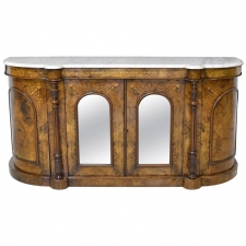 English Sideboard in Burl Walnut with Marquetry & Marble Top, circa 1850