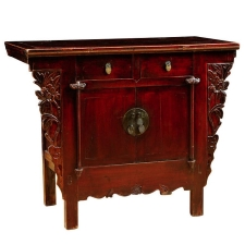 Qing Cabinet in Elm with Cinnabar Red Lacquer & Carved Peonies, Circa 1800