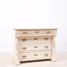 Painted Swedish Pine Chest of Drawers with Columns and Original Brass Hardware, c.1890