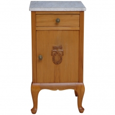 Small Cherry Nightstand with Marble Top, circa 1910