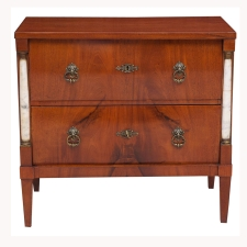 Small Empire Commode or Chest of Drawers in Mahogany with Marble Columns