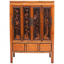 19th Century Chinese Elm Storage Cabinet with Ebonized Panels and Carved Scenes