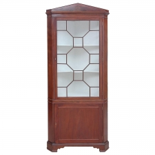 English Regency Corner Cabinet in Mahogany with Glass Panel Door, circa 1820