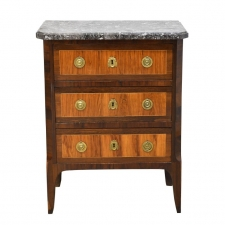 Small 18th Century French Louis XV/XVI Commode with Parquetry and Marble
