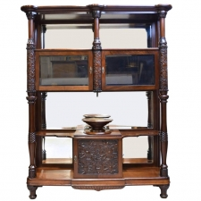 Belle Époque Desert Cupboard in Mahogany with Carved Birds of Paradise