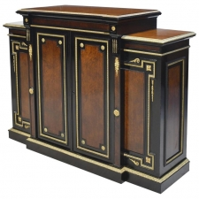 American Gilded Age NY Ebonized Credenza with Bronze Doré Ormolu Mounts