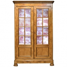 French Louis Philippe Bookcase/Cupboard in Chestnut with Glass Panels circa 1830