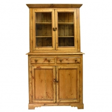Rustic 19th Century English Country Cupboard in Pine with Glazed Doors