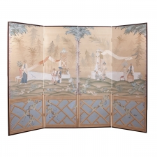 Long Vintage Screen in Chinoiserie with Four Painted Panels with Chinese Scenes