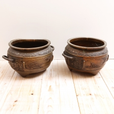 Pair of Late 19th Century Chinese Cachepots in Bronze