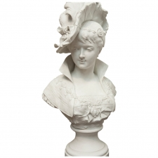 Bust of a Young Woman with Plumed Hat by Paul Duboy, c. 1870