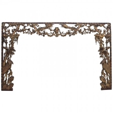 Large Elaborately Carved Chinese Architectural Surround with Birds and Flowers
