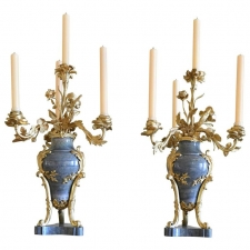 Pair of 19th Century Green Marble Vase Candelabra with Bronze Doré Mounts