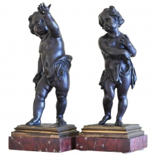 Pair of 19th Century French Bronze Cherubs on Marble Base