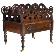 William IV Canterbury or Sheet Music Rack in Rosewood with Fretwork, circa 1830