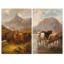 "Pair of ""Oxen in the Highlands"", Oil on Canvas, Signed Edwin Armfield"