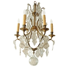 Rococo Style Six Light Chandelier with Cut Glass and Crystal Leaf-Shaped Prisms, Northern Europe, c. 1880