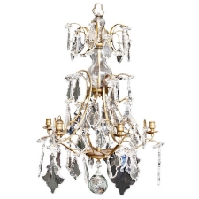 Rococo Style Six Light Glass and Crystal Prism Chandelier, c. 1880