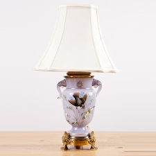 Lilac Glass Table Lamp with Elephant Head Handles