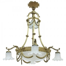 Belle Epoque Chandelier with Eight Lights in Bronze Doré, France, circa 1900