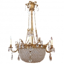 Large Baccarat Inspired Belle Époque Leaded Cut Glass and Crystal Chandelier