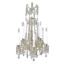 Scandinavian Cut Glass and Crystal Chandelier with 12 Lights, circa 1880
