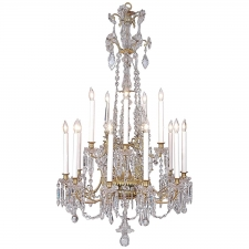 Fifteen-Light Neoclassical Cut Glass and Crystal Chandelier
