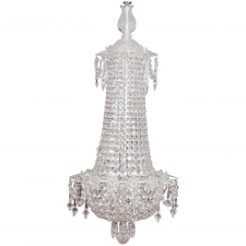 Art Deco Bag and Tent Cut-Crystal Chandelier with Chrome Frame