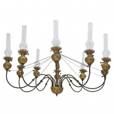 English Victorian Ten-Light Chandelier in Brass with Glass Chimneys, circa 1870
