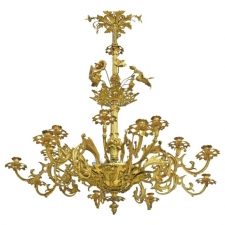 French Belle Époque Bronze Doré Chandelier has 16 Candles and 6 Lights c. 1890