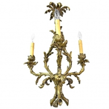 French Rococo Style Three-Light Chandelier in Bronze Doré, circa 1900