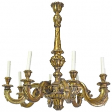 French Baroque-Style Chandelier in Carved Wood with Eight Lights, circa 1910