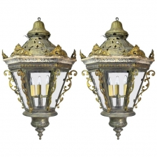 Pair of Late Baroque-Style Venetian Gondola Lanterns