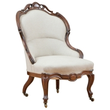 English Victorian Upholstered Slipper Chair in Mahogany, circa 1860