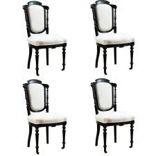 Set of 4 French Napoleon III Ebonized Dining Chairs, c. 1870