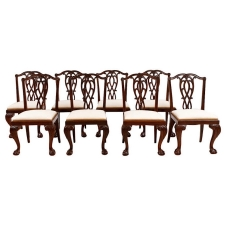 Set of Eight (8) George II Style Chinese Export Dining Chairs in Carved Mahogany, c. 1850