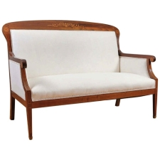 Danish Settee in Mahogany with Satinwood Inlays, circa