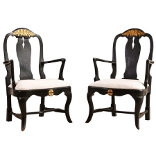 Pair of 18th Century Ebonized Armchairs