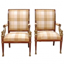 Pair of French Empire Fauteuils, circa 1810